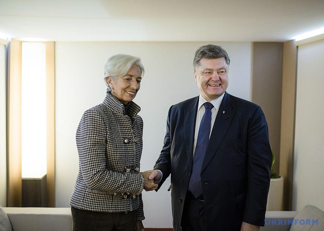 Крістін Лагард і Петро Порошенко