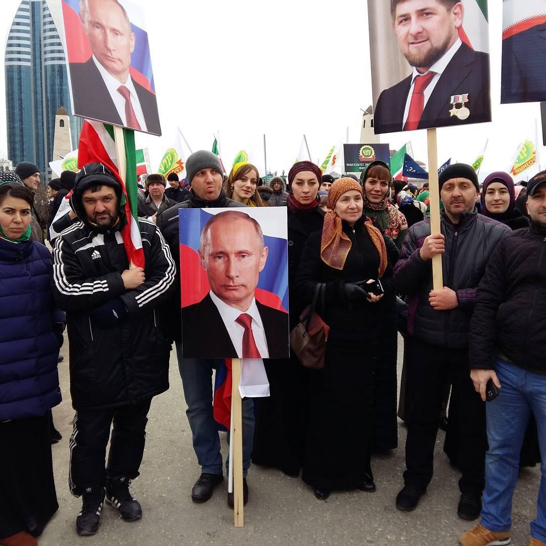 митинг в Чечне в поддержку Кадырова фото: instagram