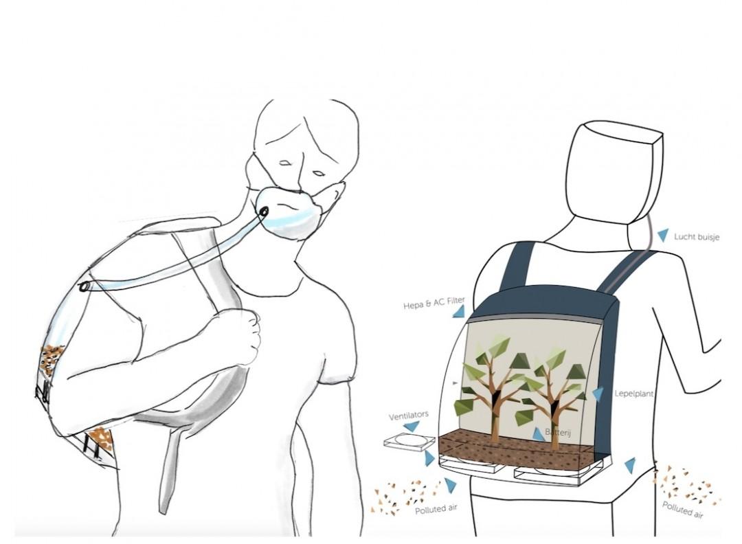 Студенти з Нідерландів винайшли рюкзак, що виробляє чисте повітря