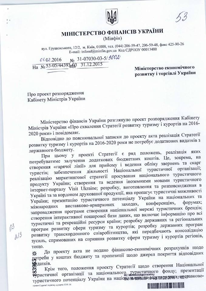 Мінфін відмовив у фінансуванні розвитку туризму в Україні