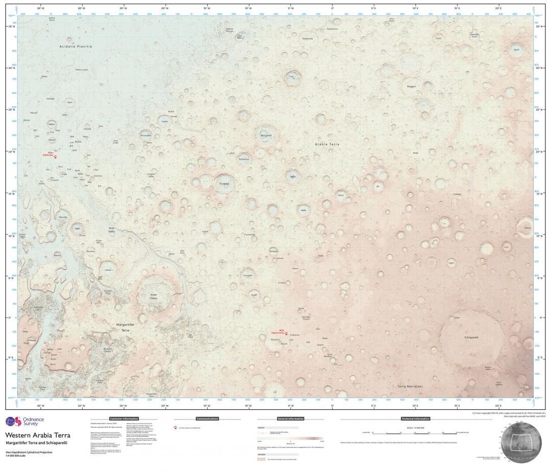 У Великобританії склали детальну карту Марса