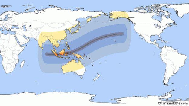 Карта траектории движения затмения - с запада на восток