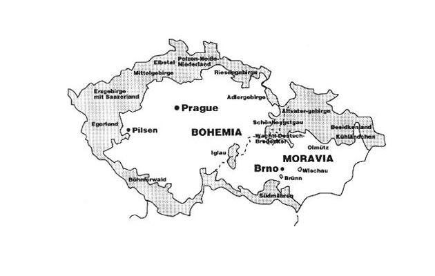 Чехословаччина, 1938. Судетська область на карті виділена сірим кольором