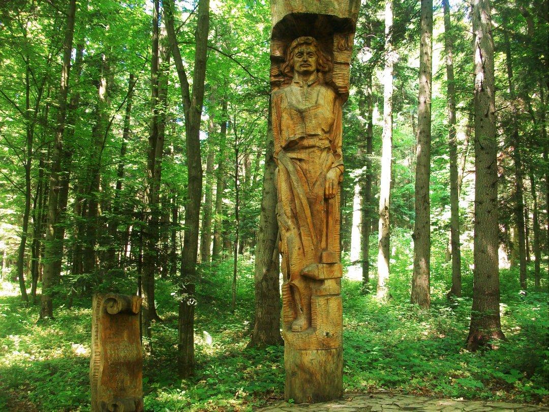 Одна з дерев'яних статуй
