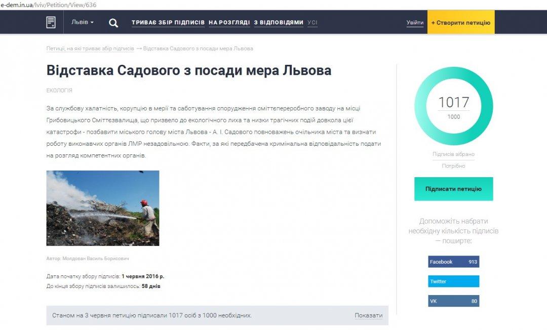 Скрін з сайту е-петицій ЛМР
