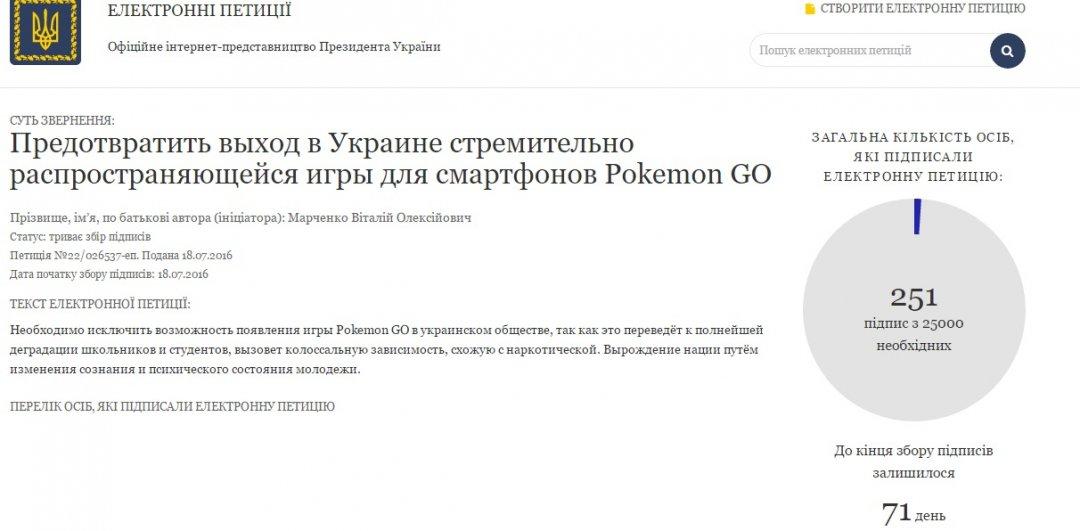 На фото - електронна петиція на офіційному інтернет-представництві Президента України щодо заборони гри Pokemon Go