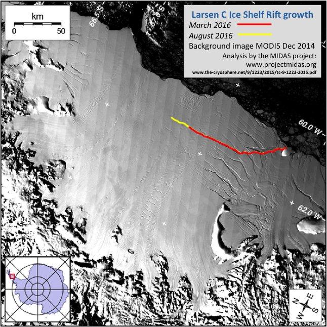 Трещина угрожает отколоть отАнтарктиды огромный ледник