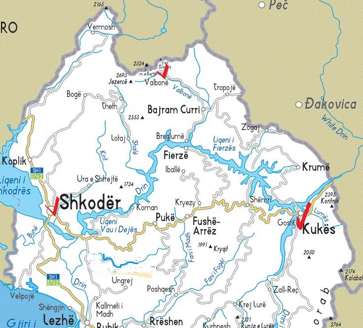 Карта Албании. Север. Шкодер-Вальбона-Кукес