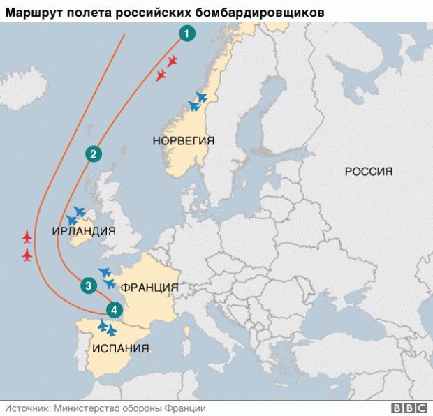 Русские бомбардировщики пролетели доИспании мимо 5-ти стран Европы