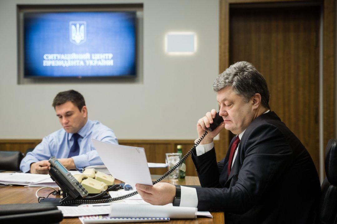 На фото: Міністр закордонних справ Павло Клімкін (ліворуч) і президент України Петро Порошенко (праворуч)