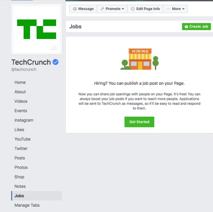 В социальная сеть Facebook появится интегрированный поиск работы
