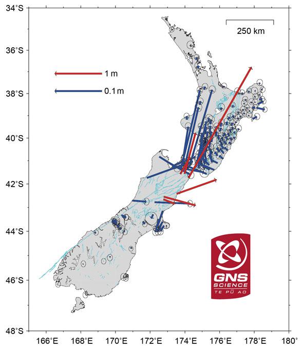 Два новозеландских острова после землетрясения приблизились друг кдругу