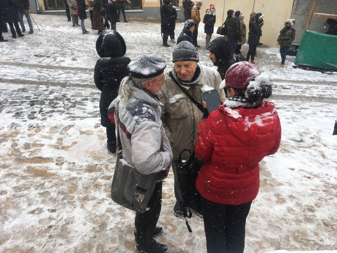 Олексій Хавротенко (праворуч) і Володимир Собцов (ліворуч) - члени громадських організацій «Старий Поділ» і «Відродження Києва. Поділ»