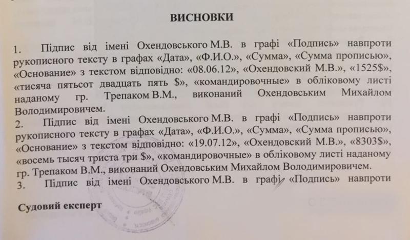 """НАБУ оприлюднило експертизу щодо підпису Охендовського в """"комірній книзі"""" ПР (ДОКУМЕНТ) - фото 1"""