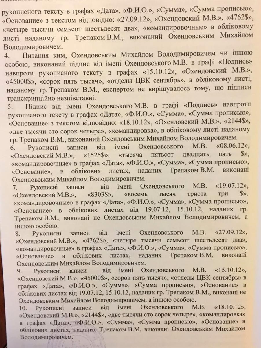 """НАБУ оприлюднило експертизу щодо підпису Охендовського в """"комірній книзі"""" ПР (ДОКУМЕНТ) - фото 2"""