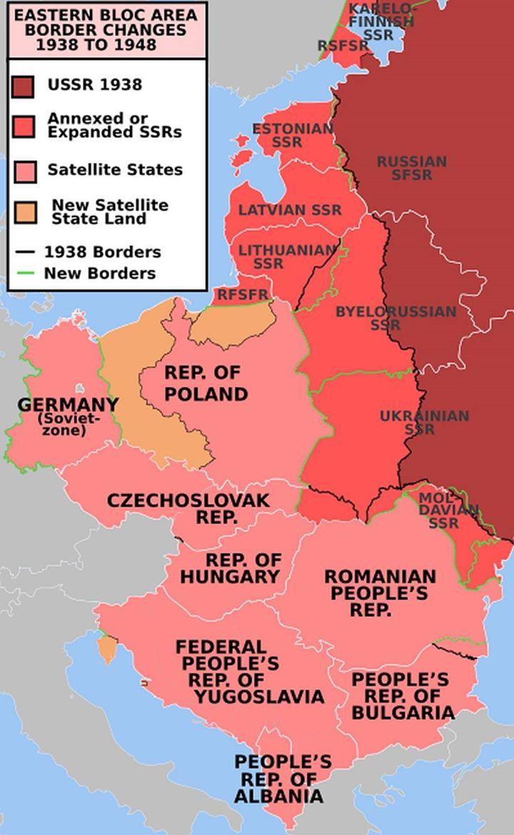 Рис.2. Темно-красным показана территория СССР до 1938 года. Светло-красным аннексированные территории других государств в период 1939-1941. Розовым границы советской зоны оккупации после окончания ВОВ.