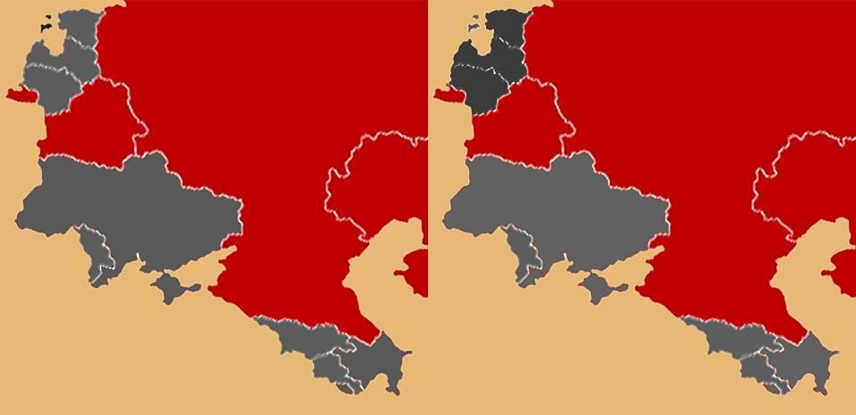 Рис.4. Республики, отказавшиеся подписать договор ССГ (слева) и страны, подвергшиеся гибридной агрессии Кремля (справа)