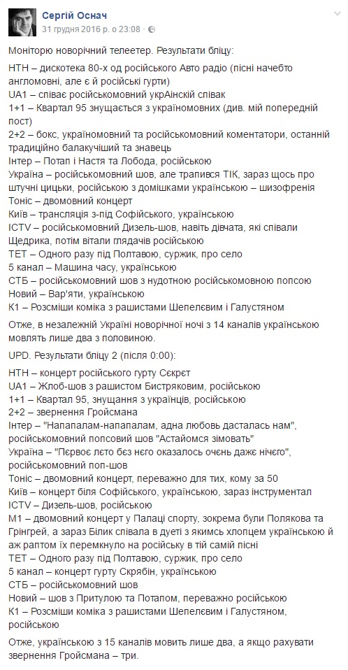 Скріншот з Фейсбук сторінки Сергія Оснача
