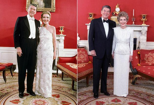 Рональд і Ненсі Рейган на інавгурації в 1981 році. Справа: в 1985 році. Фото: REUTERS