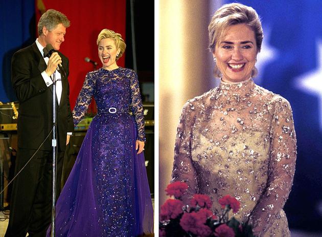 Зліва: в 1993 році сукню Хілларі пошила Сара Філіпс. Справа: в 1997 році, коли її чоловік пішов на другий термін, вбрання для місіс Клінтон створив визнаний гуру вечірньої моди Оскар де ла Рента. Фото: EAST NEWS