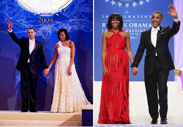 Зліва: Мішель і Барак на інавгурації в 2009 році. Справа: в 2013-му. Обидва рази плаття для першої леді шив дизайнер Джейсон Ву. Фото: GLOBAL LOOK PRESS