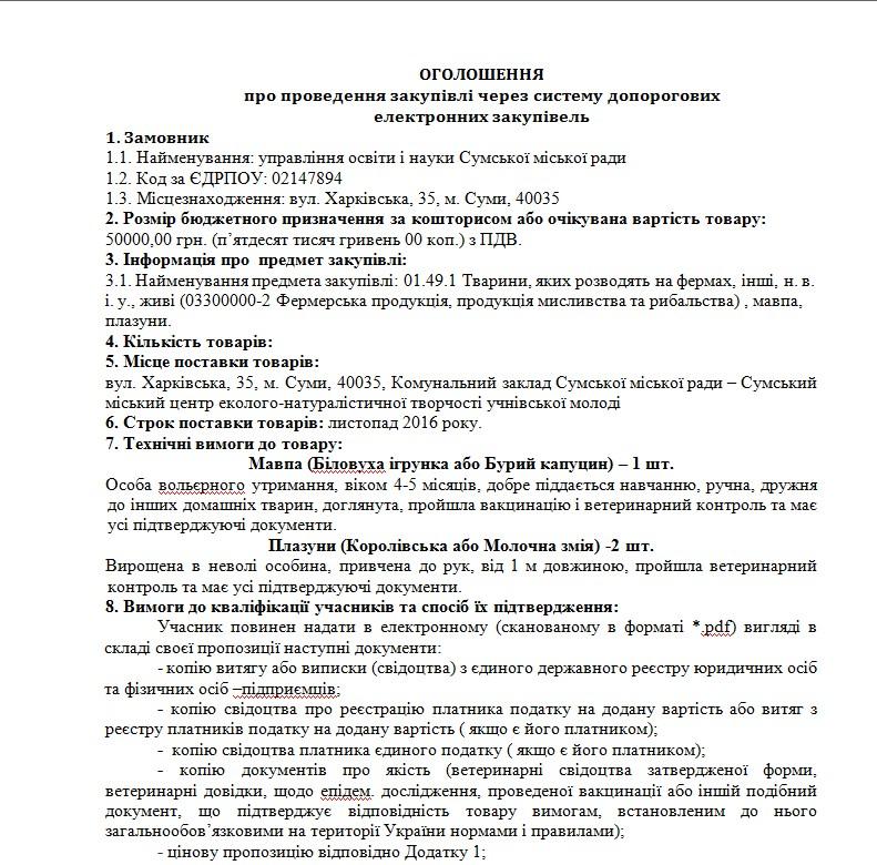 Сумской облсовет хотел приобрести через ProZorro обезьяну-капуцина за50 тыс. грн