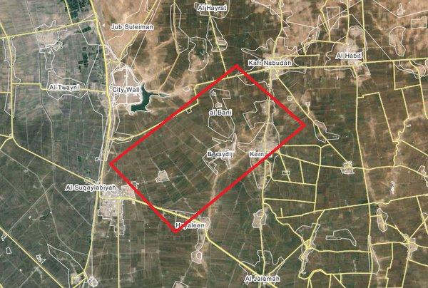 Сирия, карта падения МиГ-21/Твиттер @ValkryV