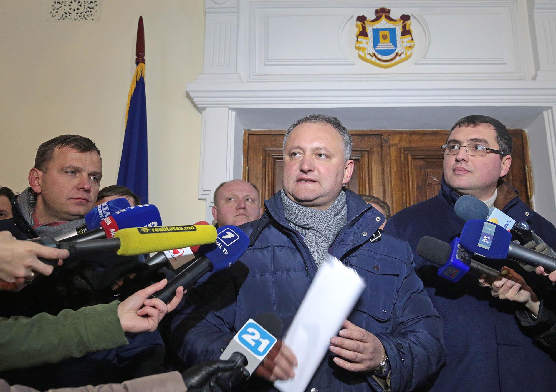 Организаторы протестов в Кишиневе - Андрей Нэстасе, Игорь Додон и Ренато Усатый - слева направо