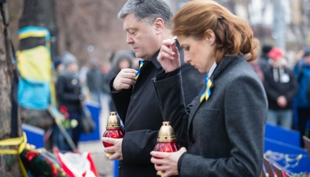 Poroshenko and his wife honored memory of fallen Heroes of the Heavenly Hundred