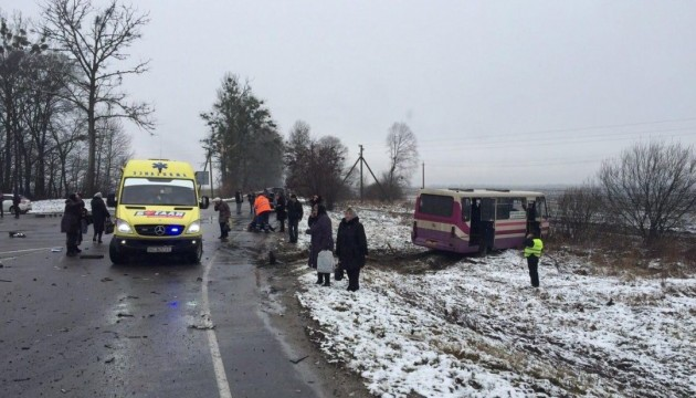 Passenger bus and car collide outside Lviv, two persons die, ten injured - police