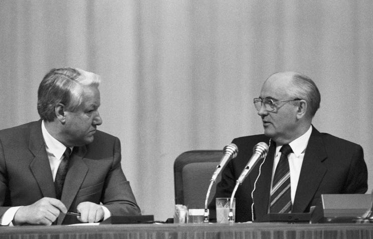 Борис Єльцин і Михайло Горбачов
