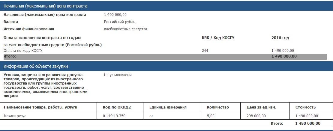 Скрин с сайта госзакупок РФ