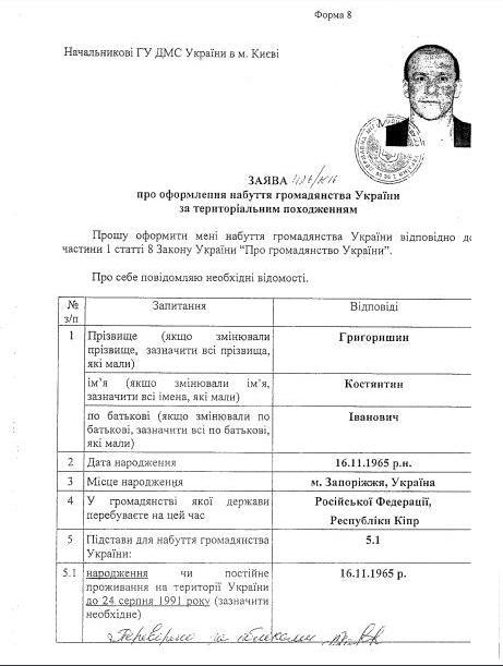 громадянство Григоришина фото: Главком