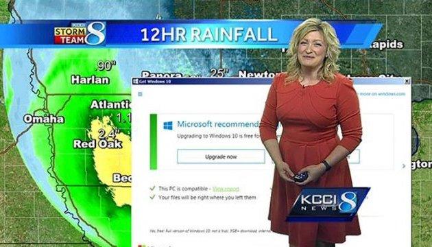Сообщение об обновлении Windows прервало прогноз погоды на американском телеканале