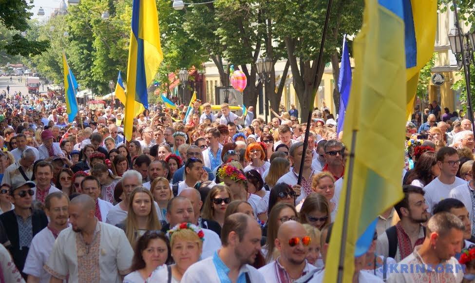 марш в вышиванках в Одессе
