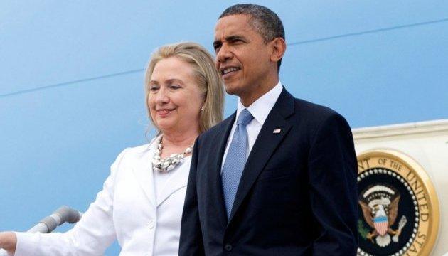 Обама впервые выступил в кампании за президентство Клинтон