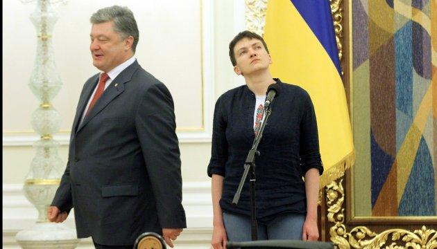 President awards Gold Star of Hero of Ukraine to Nadiya Savchenko