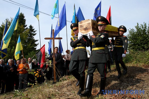Церемонія перепоховання розстріляних січових стрільців