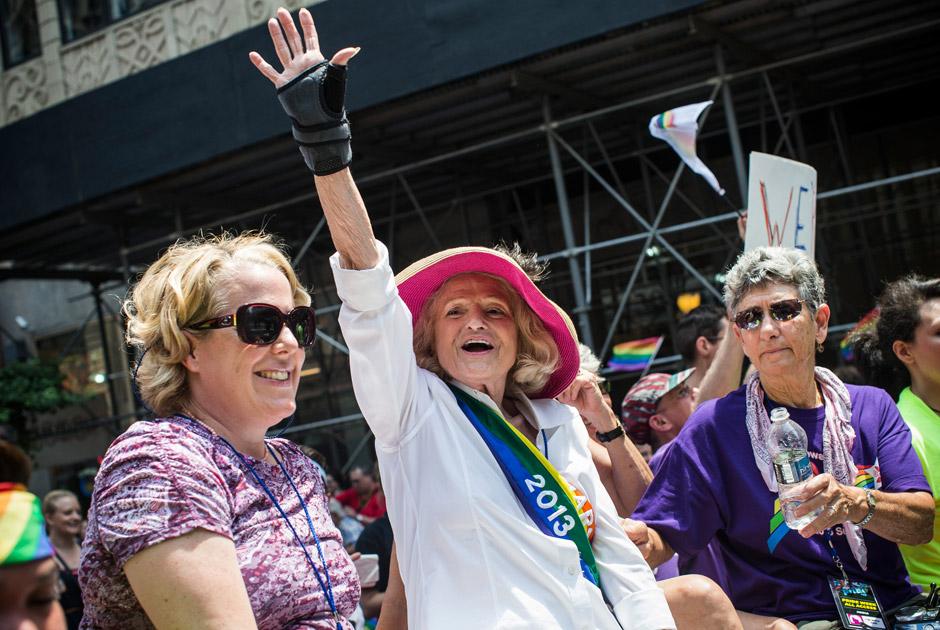 Эди Уиндзор, которая добилась внесения изменений в Закон о защите брака, Нью-Йорк, США, 30 июня 2013 года. Фото: Andrew Burton / Getty Images / AFP