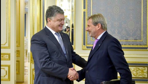President Poroshenko, EU Commissioner Hahn discuss reforms in Ukraine
