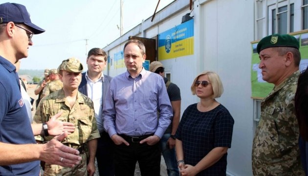 Minister for occupied territories inspects readiness of 'Zolote' entry-exit checkpoint for opening