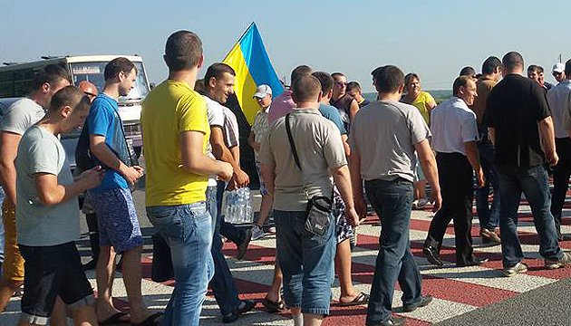 Miners block international highway Lviv-Rava-Ruska