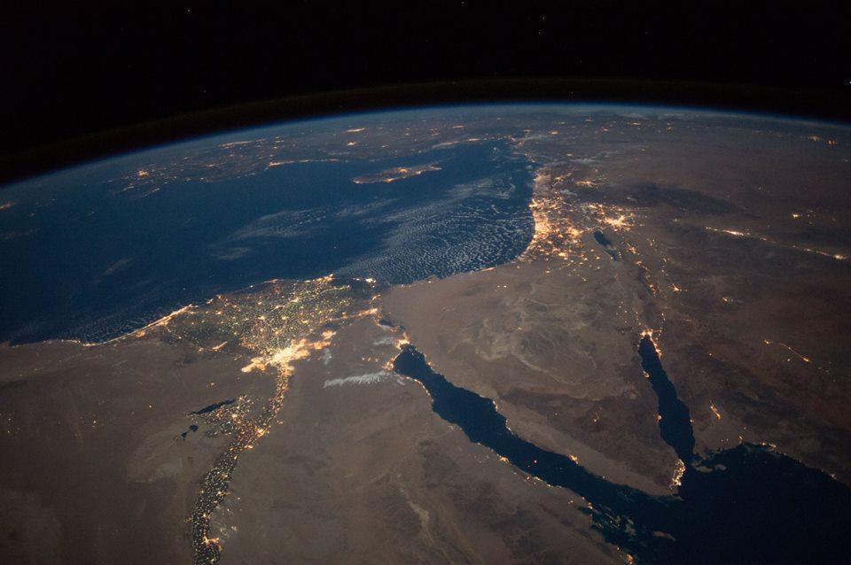 Нічний вид на Північний Єгипет і Синайський півострів