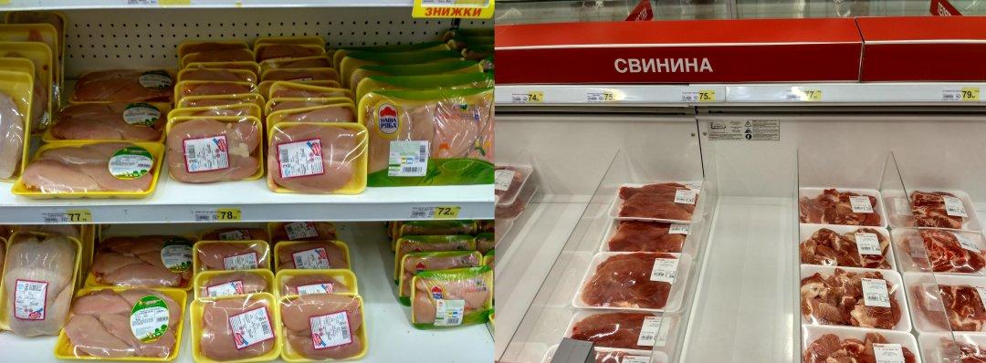 На фото: Ціни на курятину (ліворуч) і свинину (праворуч) у магазині