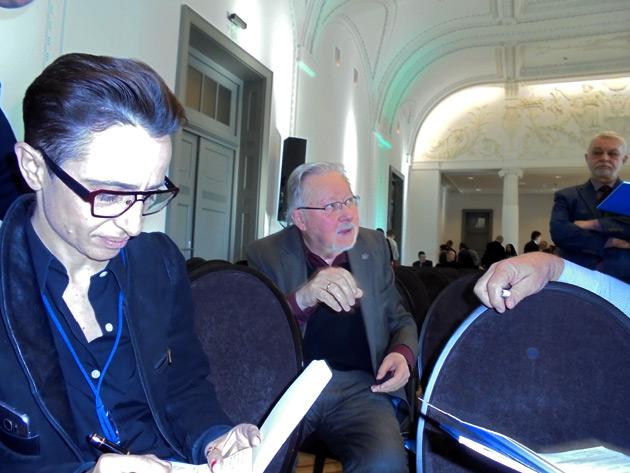 Маша Гессен и Витаутас Ландсбергис На Форуме свободной России