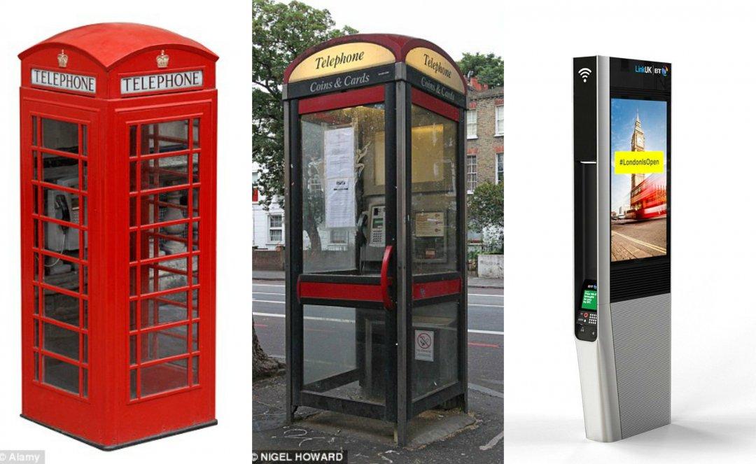 Класична телефонна будка (зліва), сучасна BT телефонна будка (посередині), Links (справа)