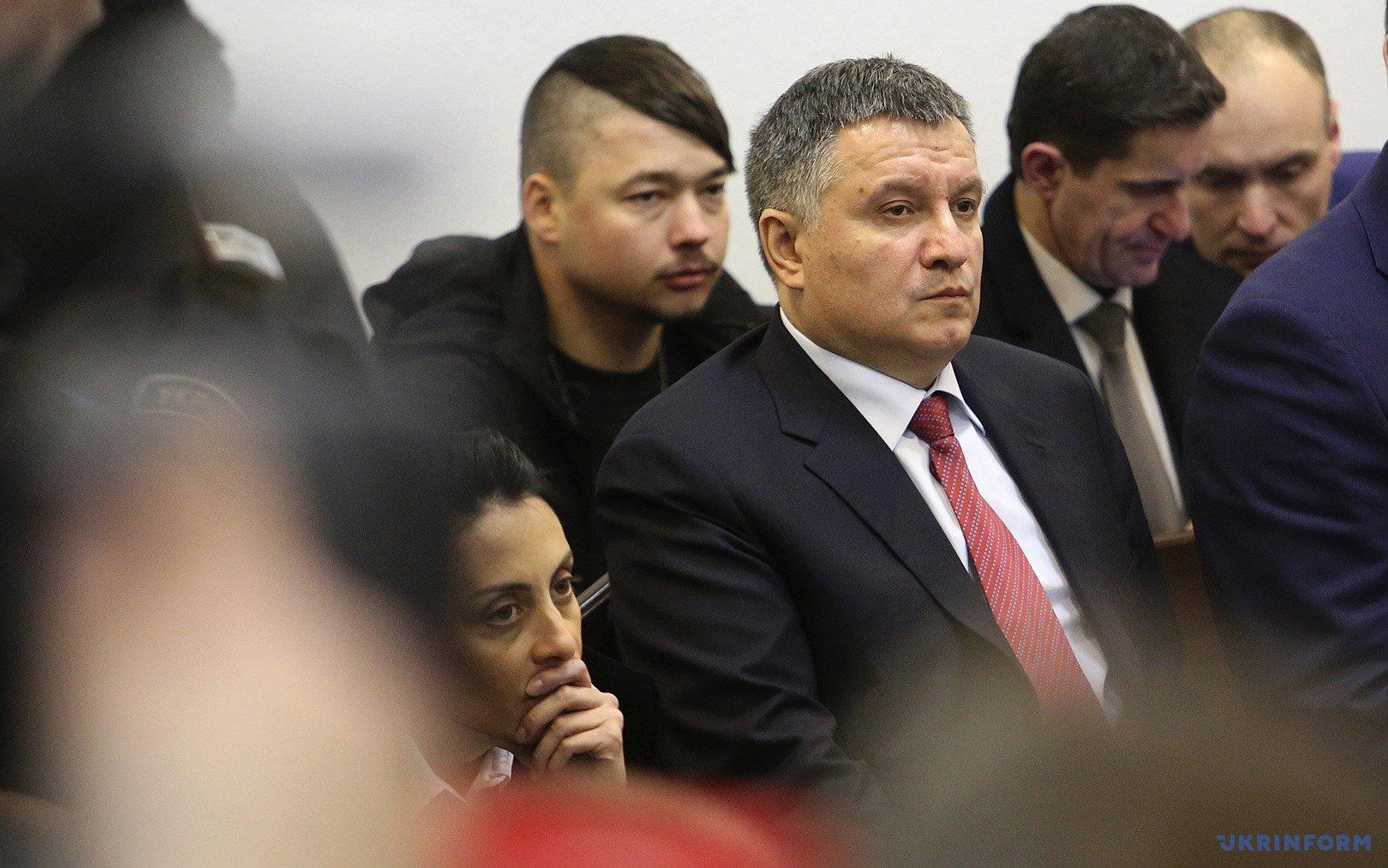 Хатия Деканоидзе и Арсен Аваков во время заседания Апелляционного суда Киева по делу патрульного Нацполиции Сергея Олейника