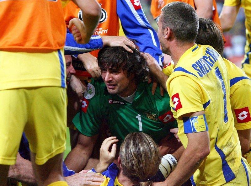 Олександр Шовковський після легендарного поєдиноку 1/8 фіналу ЧС-2006 Україна - Швейцарія.