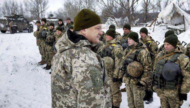 President inspects stronghold on frontline near Horlivka
