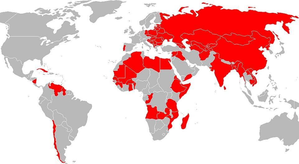 Рис.3. Социалистические страны, страны социалистической ориентации и страны, которые возглавляли правительства социалистов